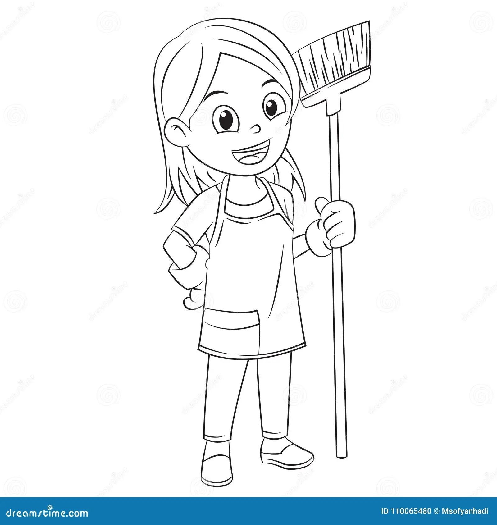 Cartoon Girls Clean The House Using A Broom Stock Vector