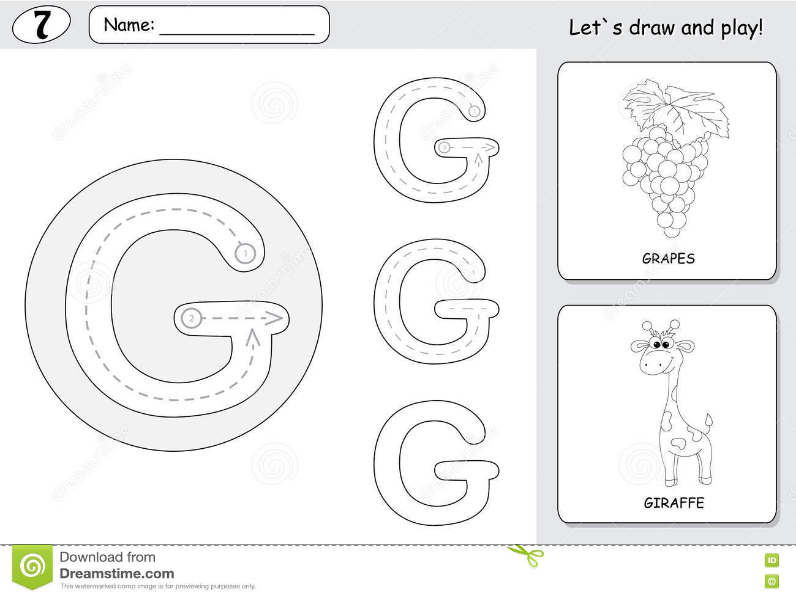 Cartoon G S And Giraffe Alphabet Tracing Worksheet Writing Stock Vector