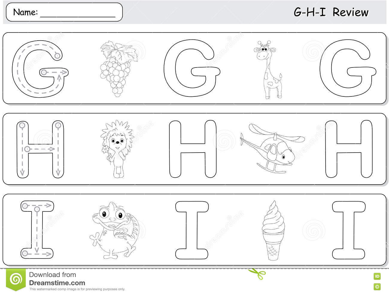 Cartoon G S Giraffe Hedgehog Helicopter Ice Cream And Iguana Alphabet Tracing Worksheet