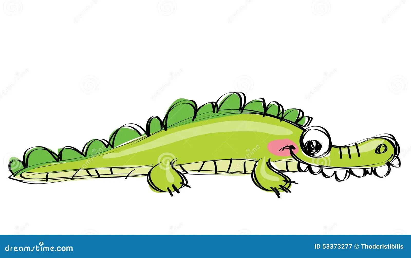 Cartoon Green Happy Crocodile With Funny Teeth As Children