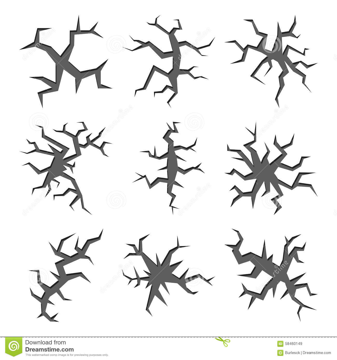 Cartoon Ground Holes And Cracks Vector Set Cartoon Vector