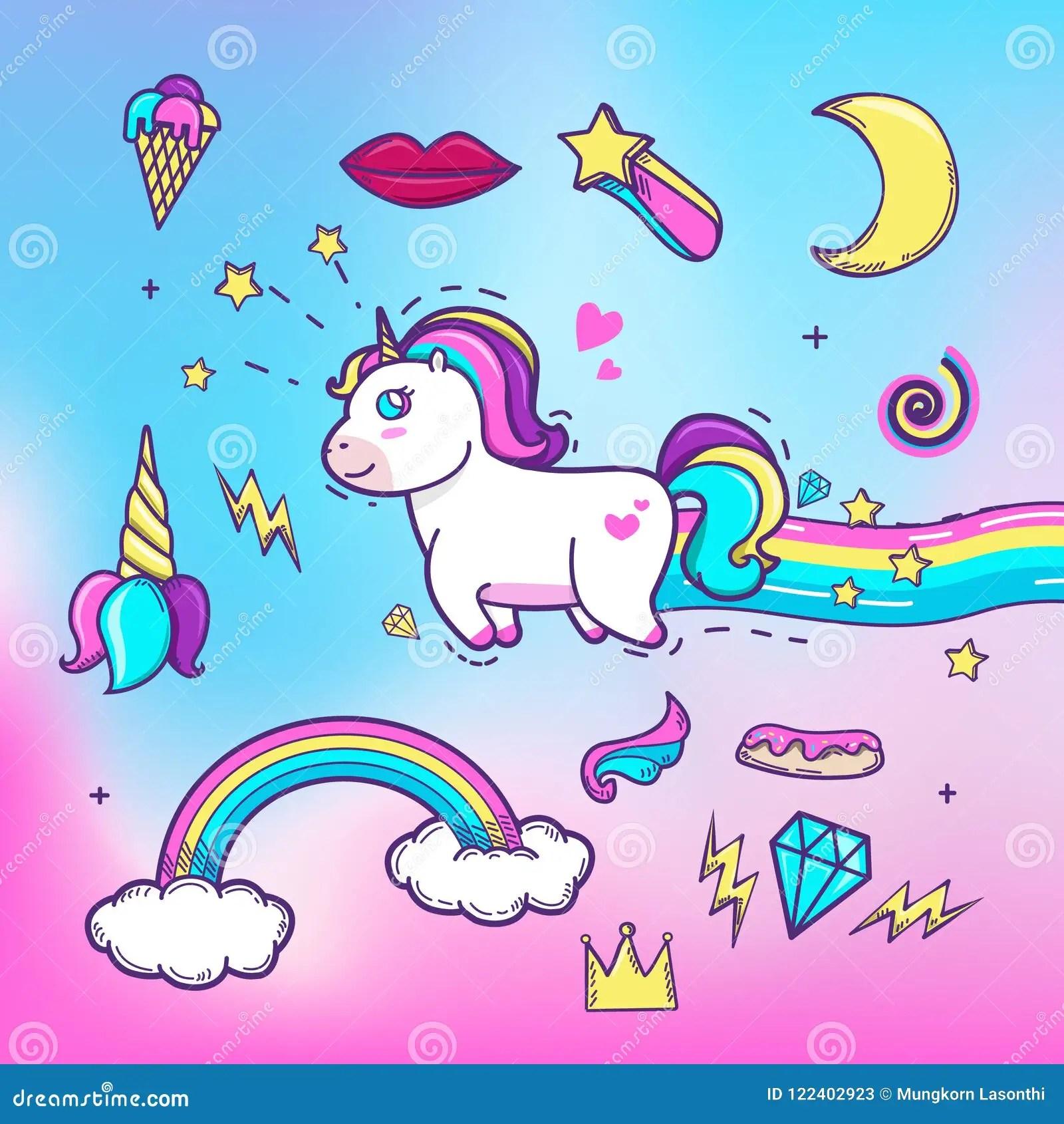 Cartoon Hand Drawn Unicorn With Elements Cute Unicorn With