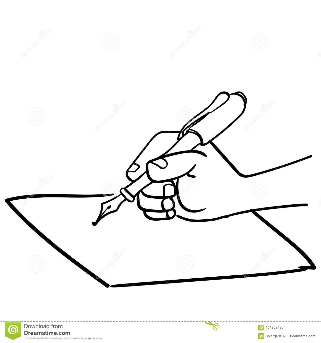 Cartoon Hand Writing With Pen Vector Drawn Stock Vector