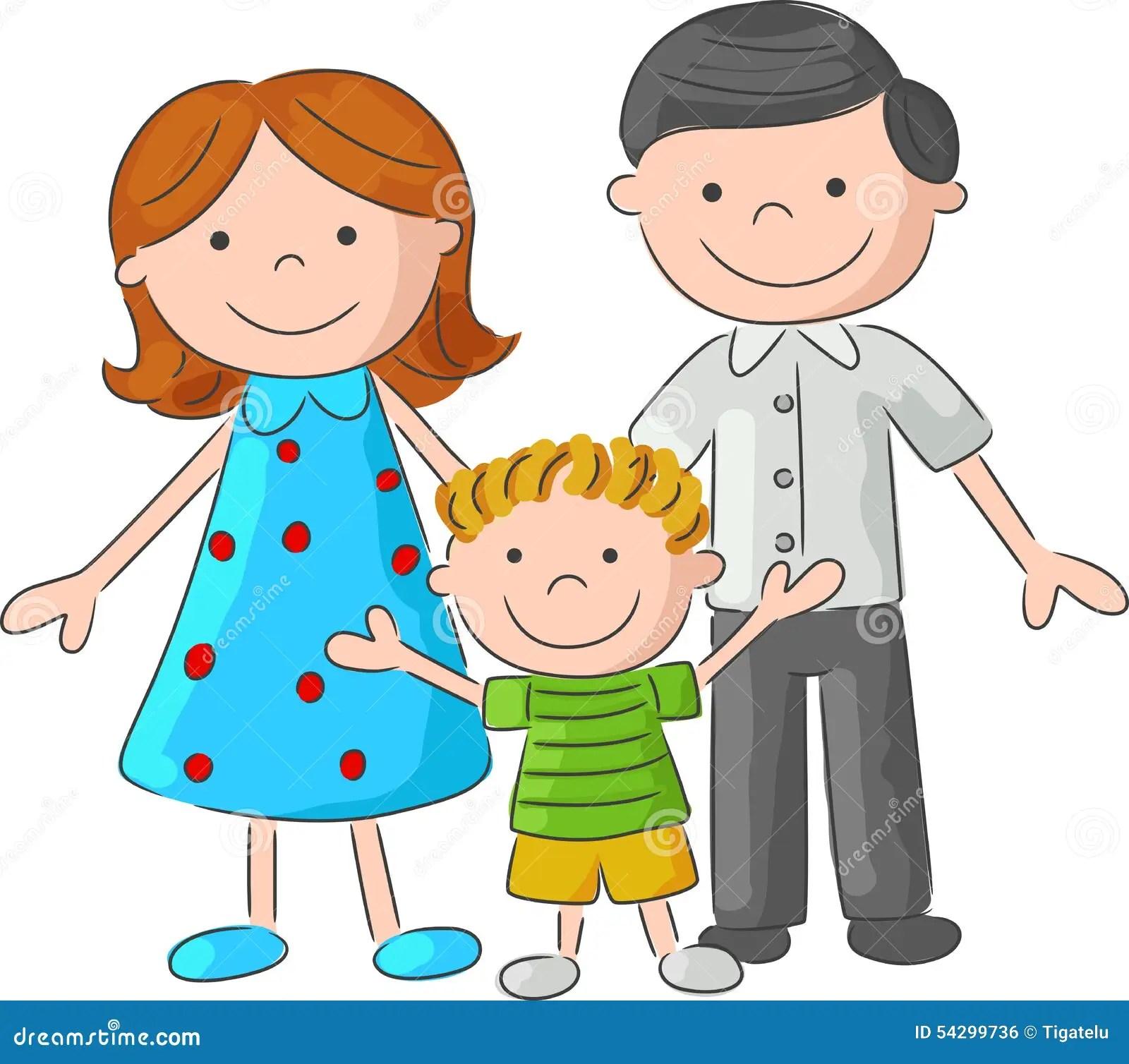 cartoon happy family sketch stock vector image 54299736