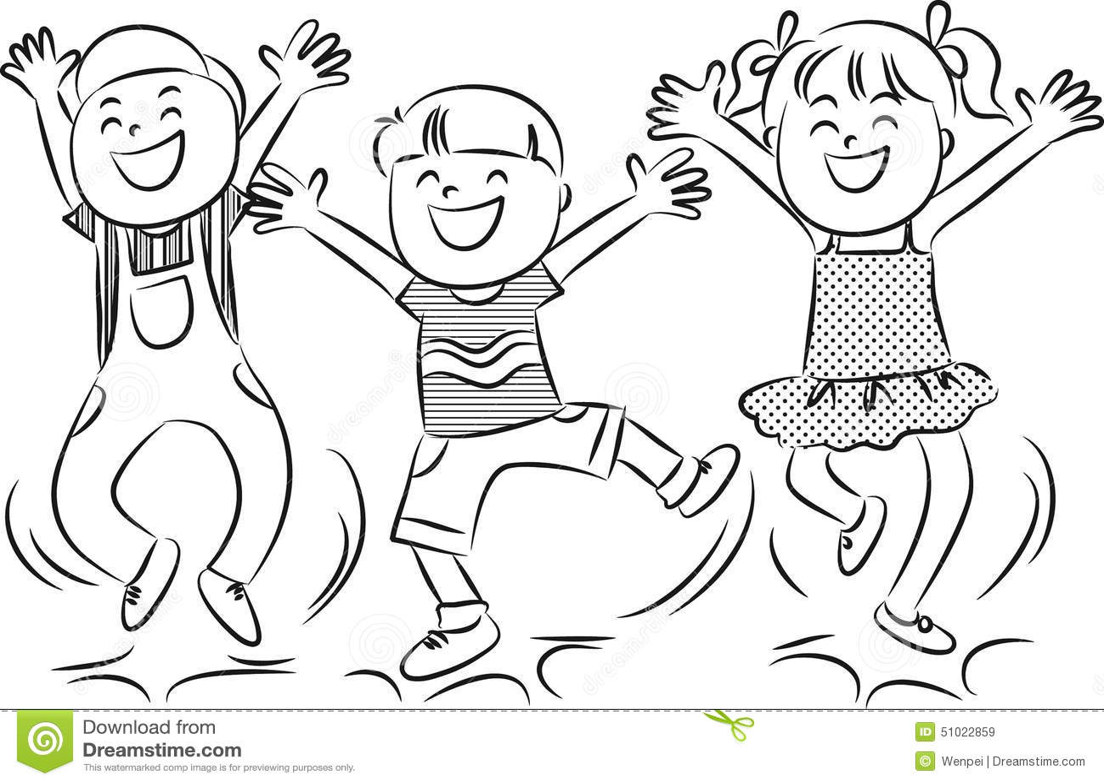 Cartoon Happy Jumping Kids Stock Illustration