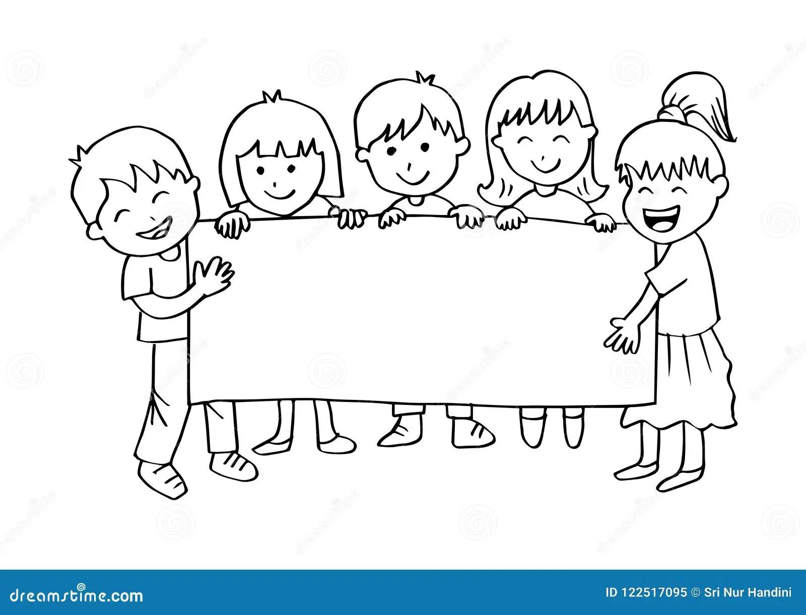 Cartoon Happy Kids Holding Banner Stock Vector