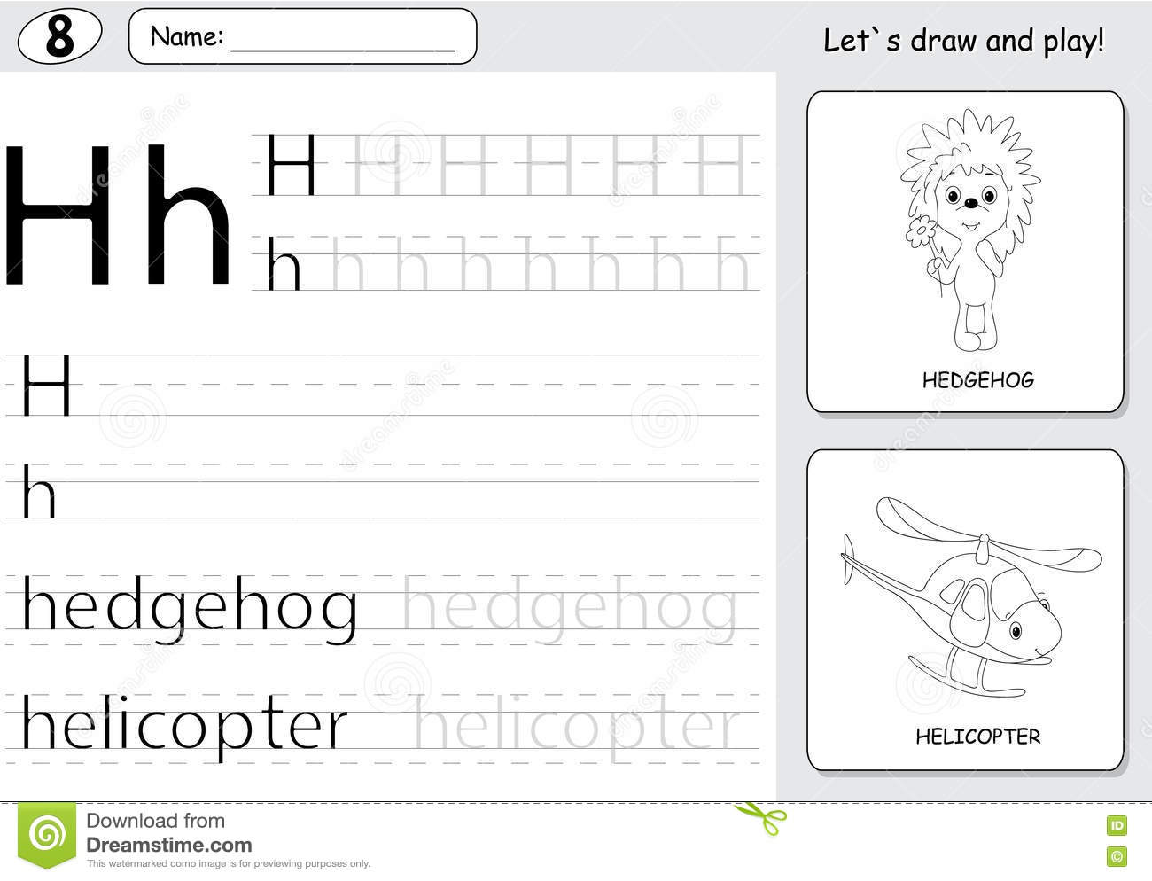 Cartoon Hedgehog And Helicopter Alphabet Tracing Worksheet Wri Stock Vector