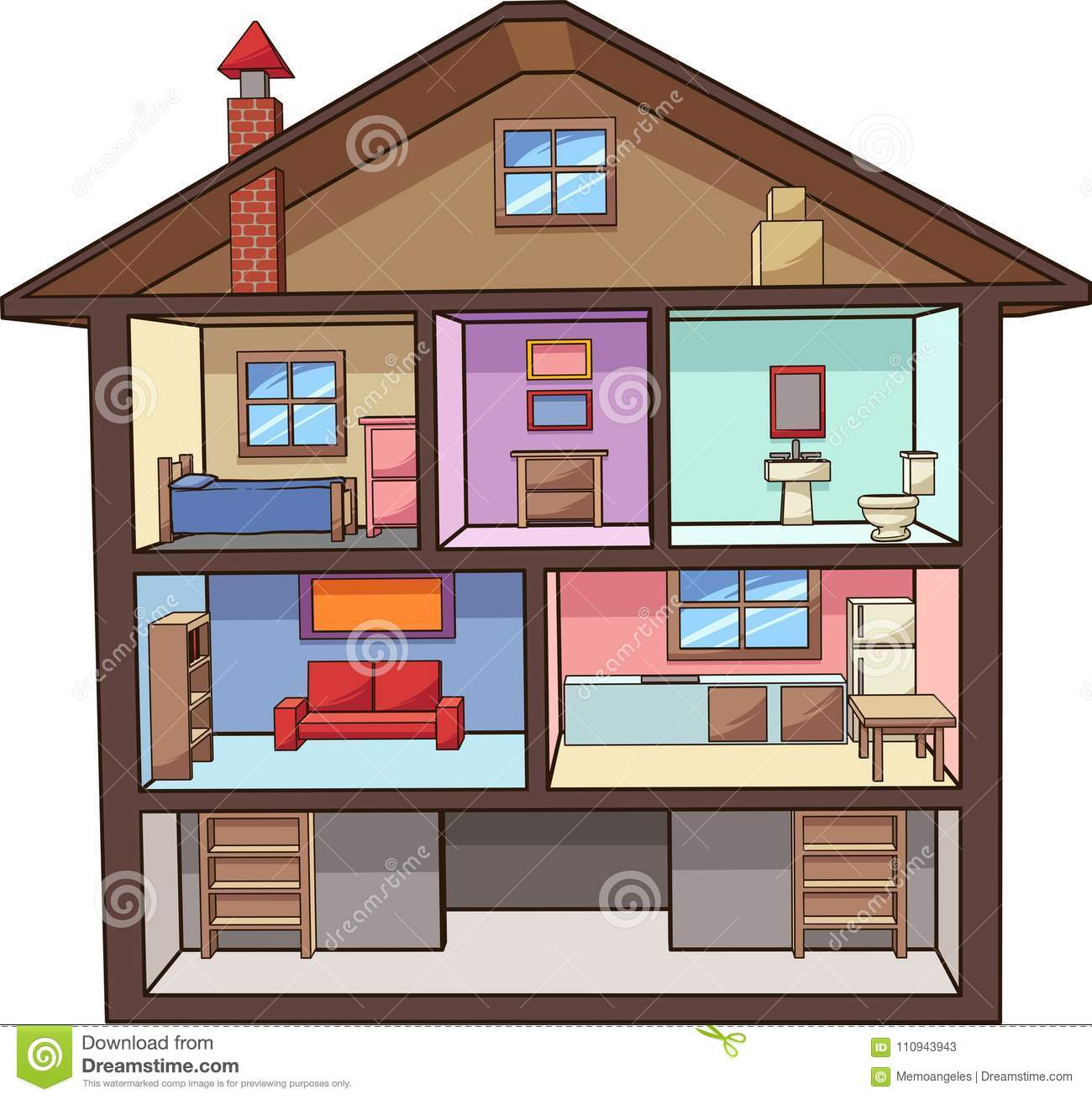 Cartoon House Interior With Rooms Stock Vector
