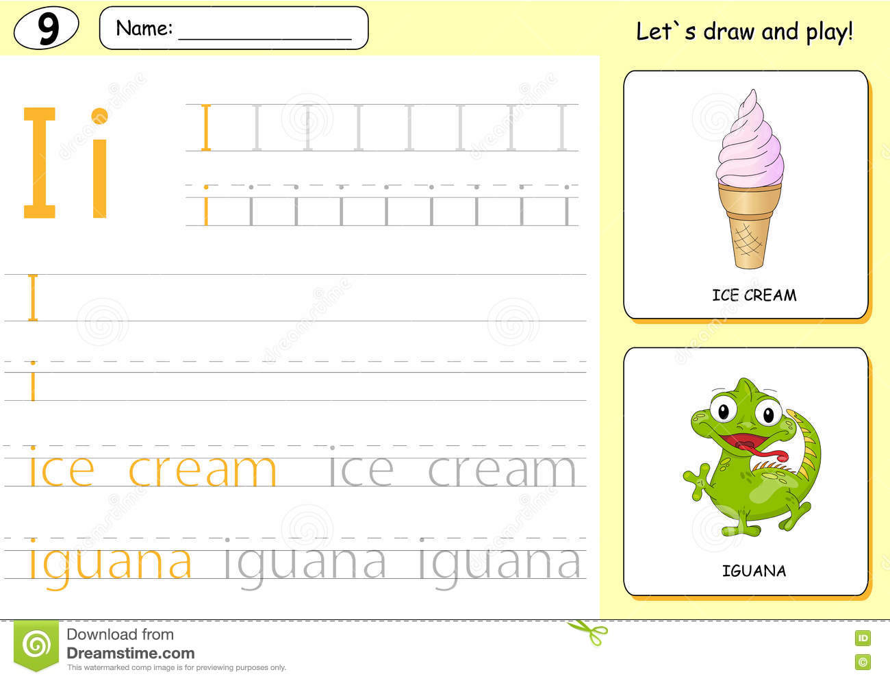 Cartoon Ice Cream And Iguana Alphabet Tracing Worksheet