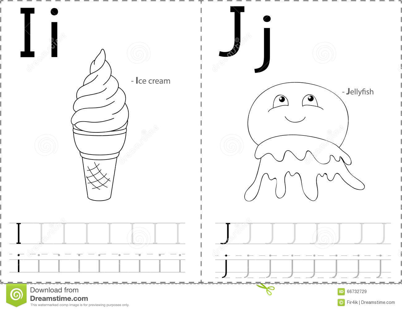 Cartoon Ice Cream And Jellyfish Alphabet Tracing