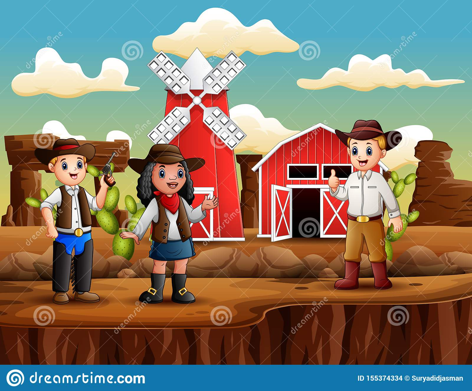 Cowboy And Cowgirl On The Background Of Farm Stock Vector