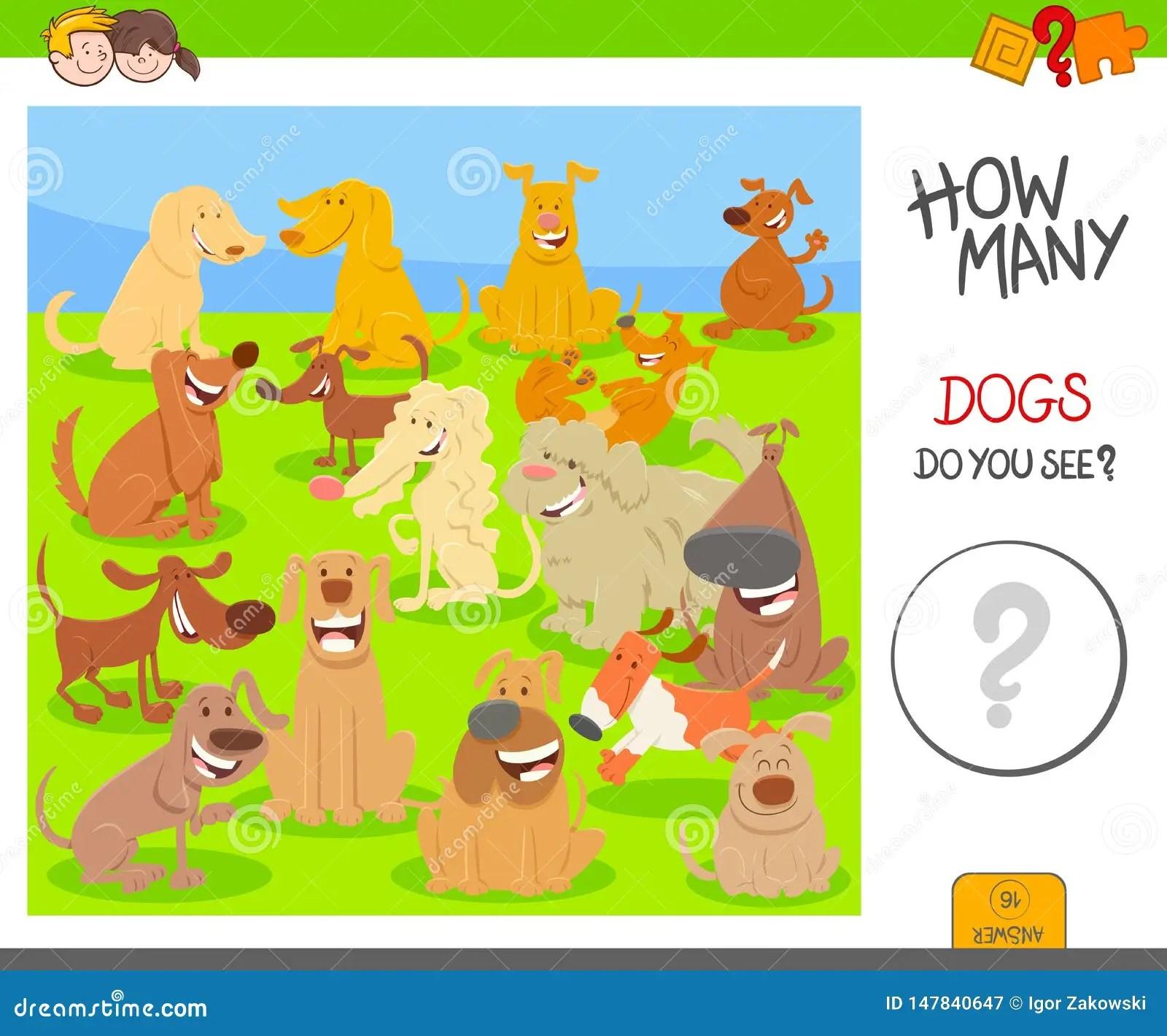 Count Cartoon Dogs Game Worksheet Stock Vector