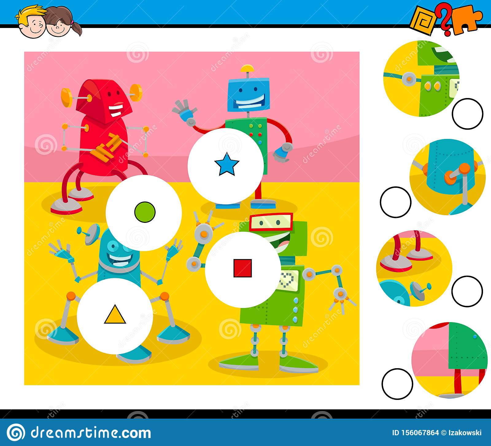 Match Pieces Puzzle With Robots Characters Stock Vector