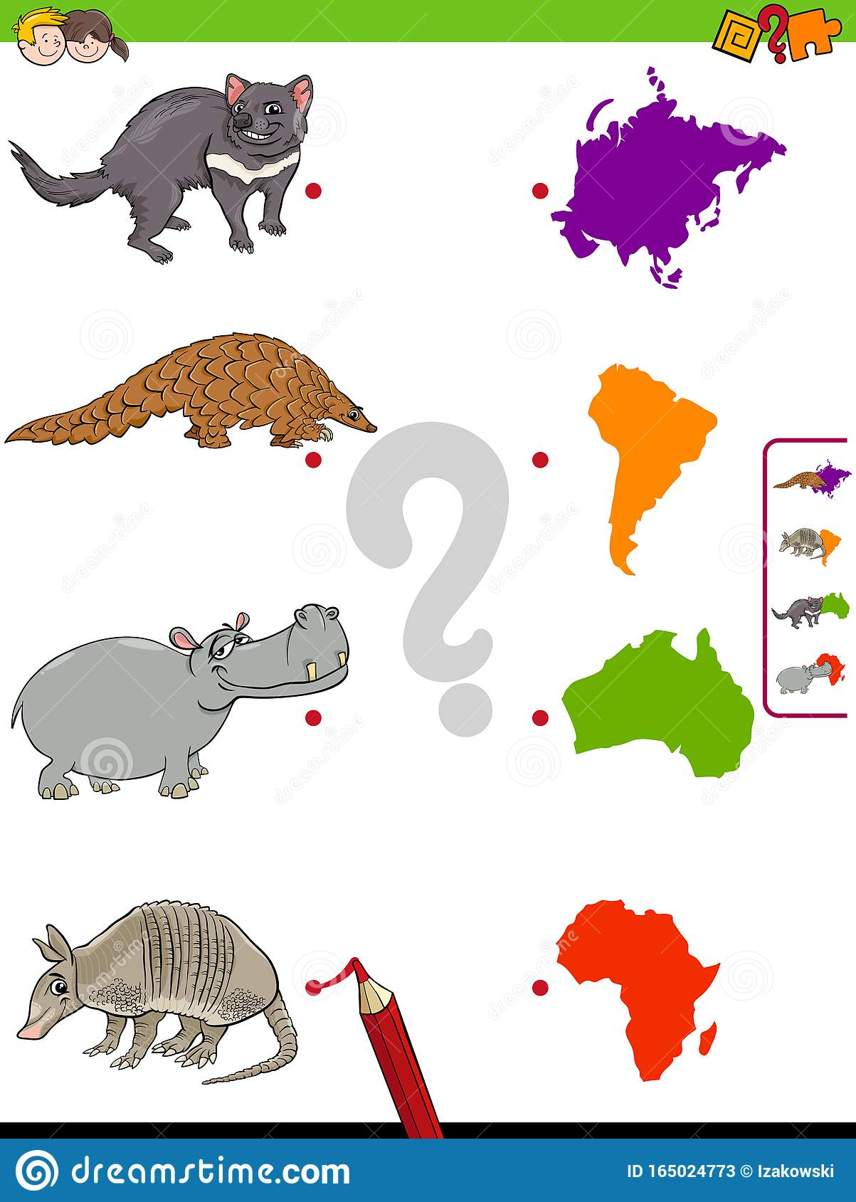 Match Animals And Continents Educational Task For Kids