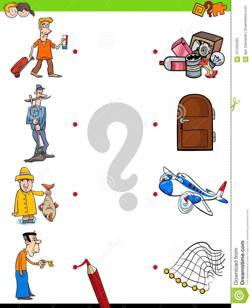 Match Men And Objects Game For Kids Stock Vector