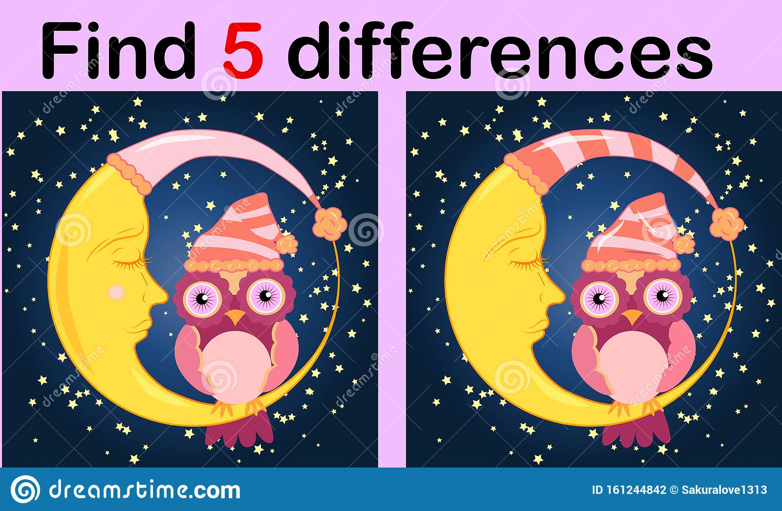 Cartoon Illustration Of Find The Differences Educational