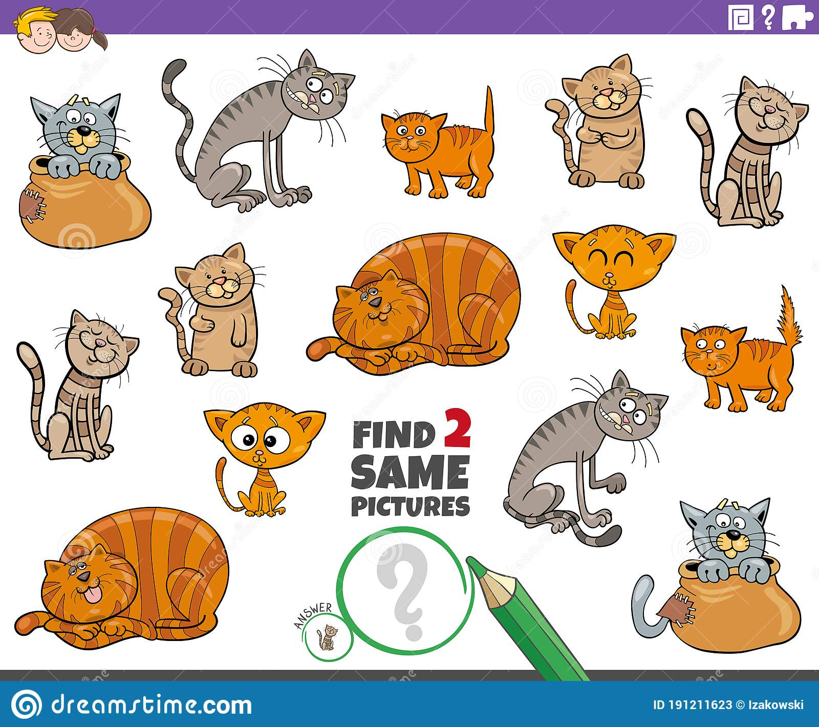 Find Two Same Cat Or Kitten Characters Game For Kids Stock