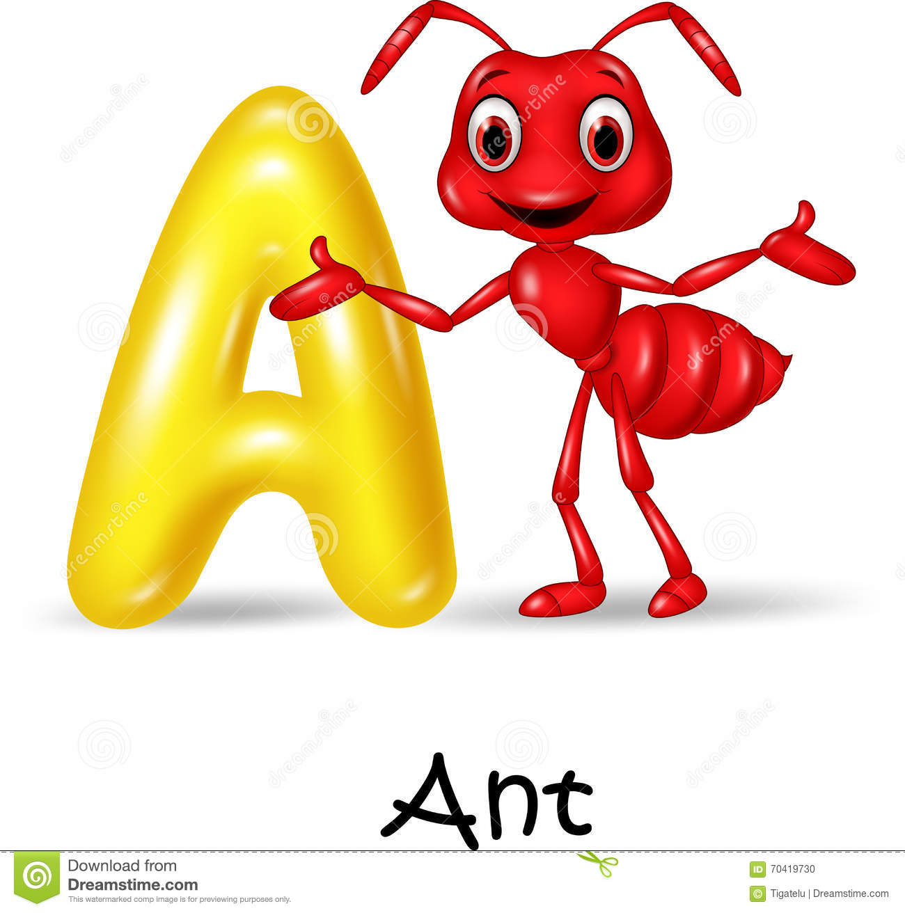 Cartoon Illustration A Of Letter For Ant Stock Vector