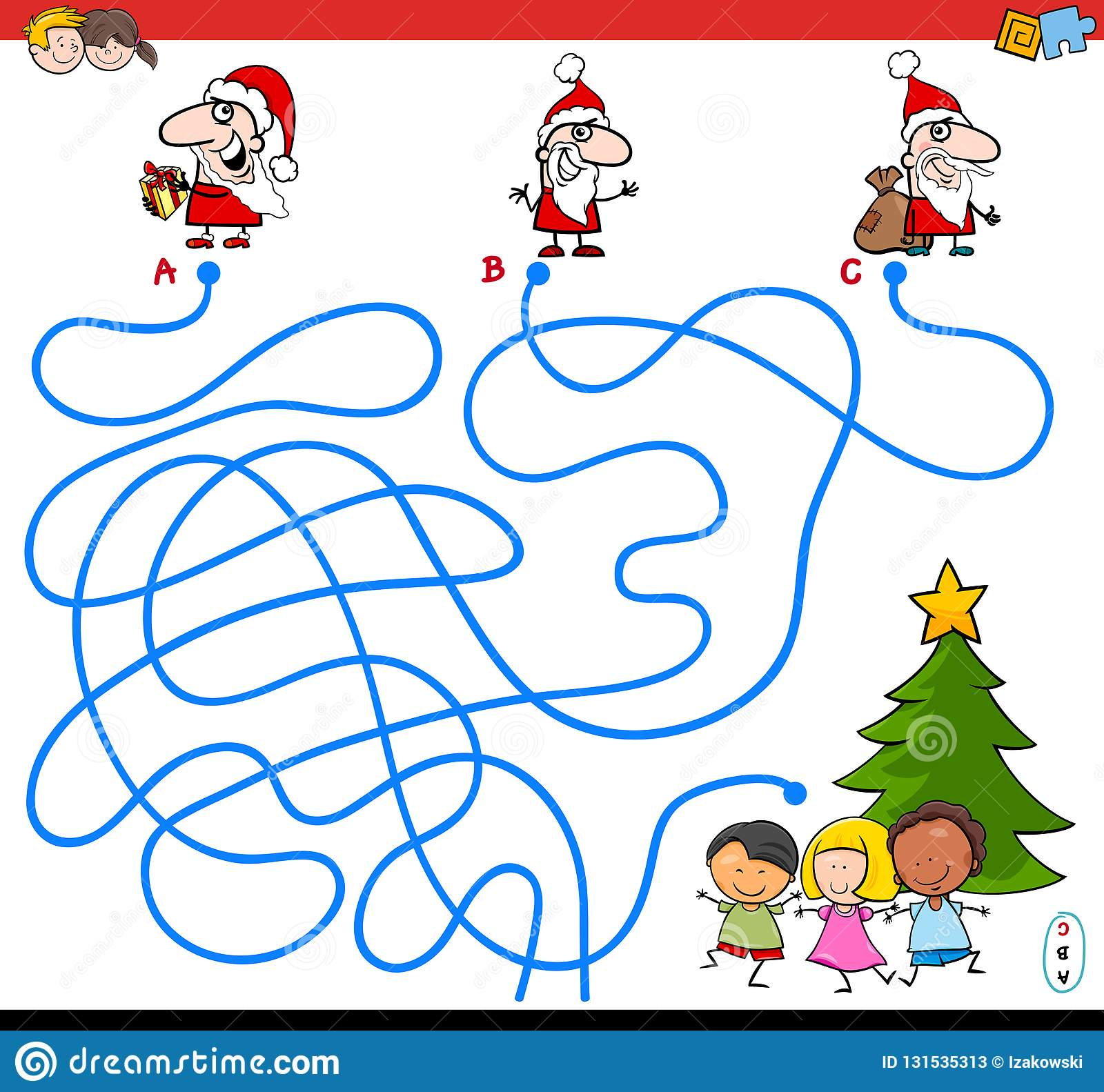 Lines Maze Game With Santa Characters Stock Vector