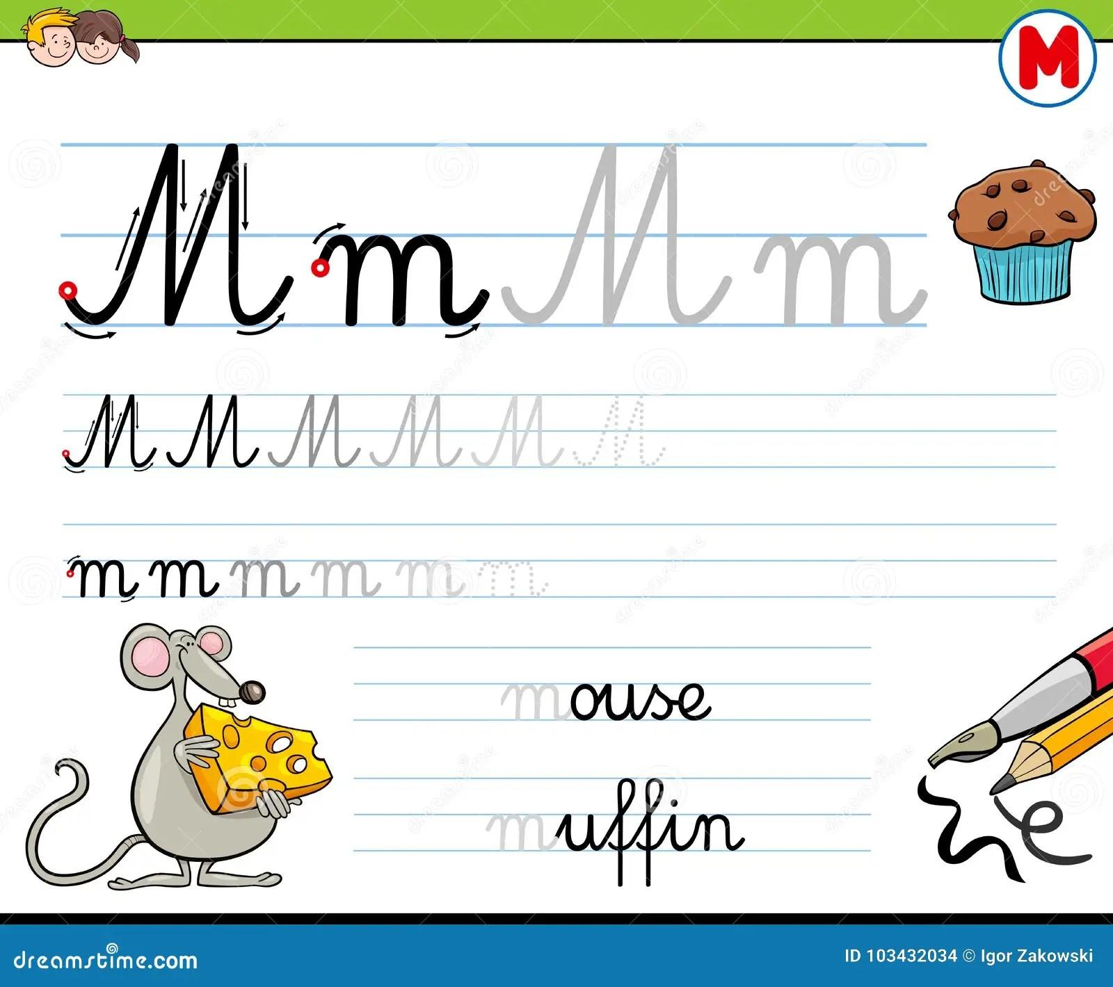 How To Write Letter M Worksheet For Kids Stock Vector