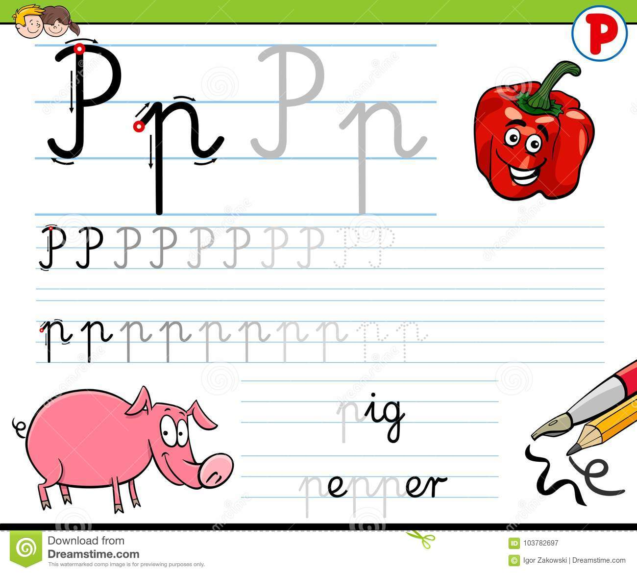 How To Write Letter P Worksheet For Kids Stock Vector