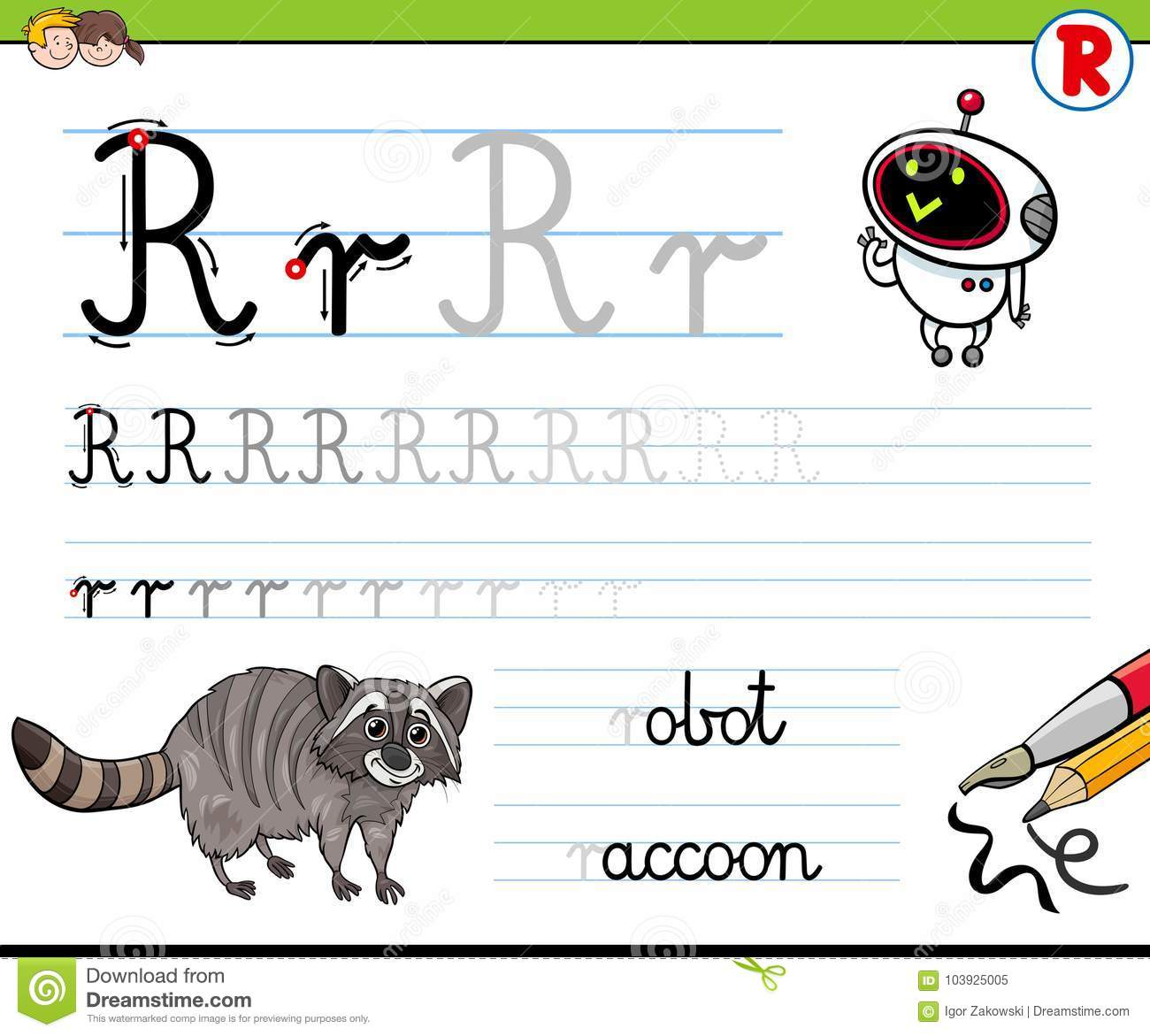 How To Write Letter R Worksheet For Kids Stock Vector