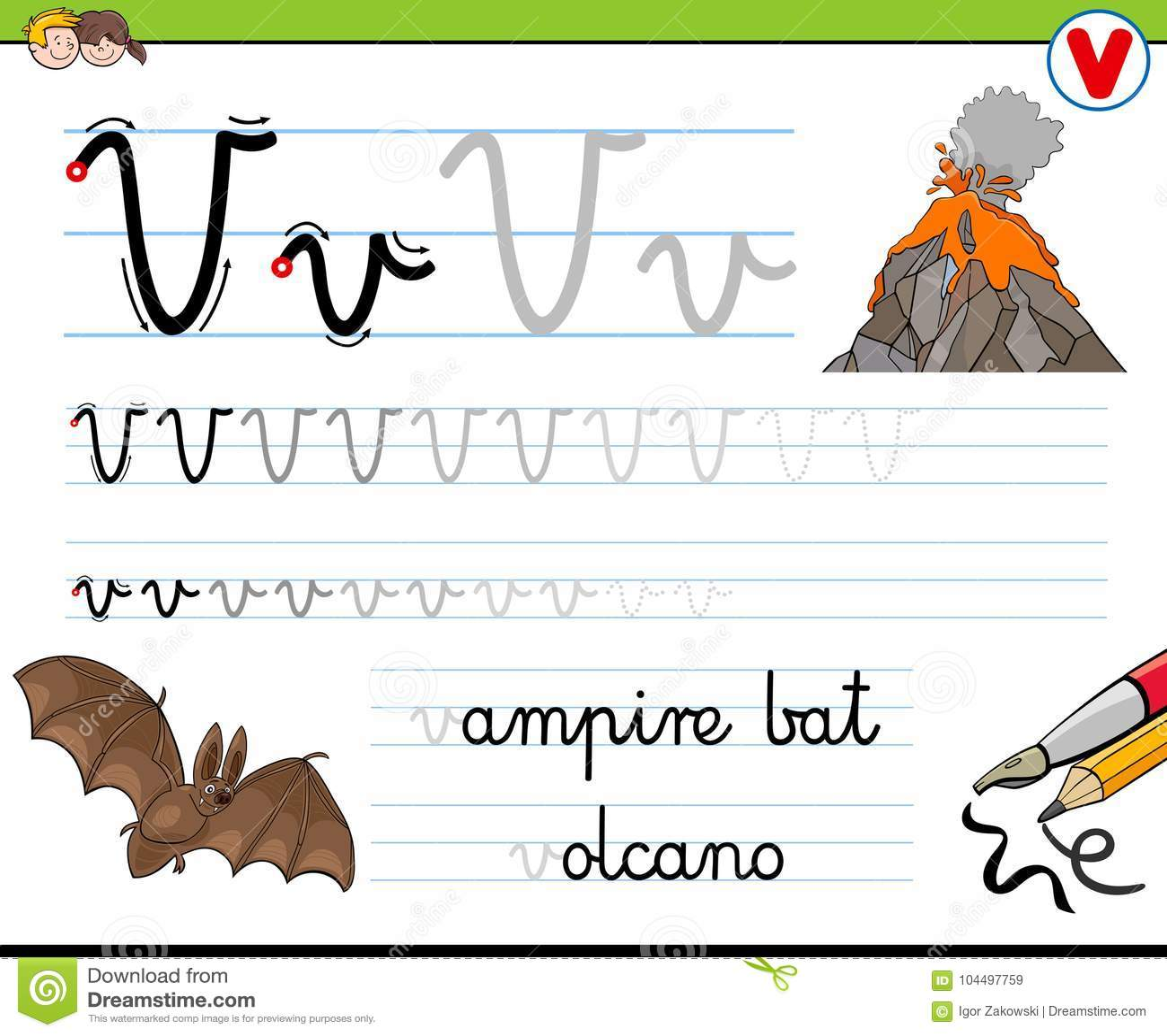 How To Write Letter V Worksheet For Kids Stock Vector