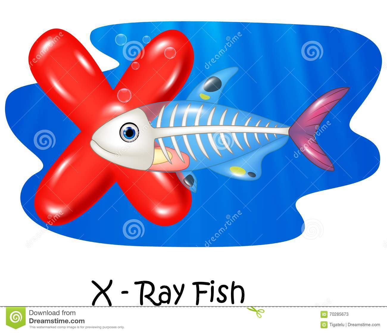 Cartoon Illustration X Of Letter X Ray Fish Stock Vector