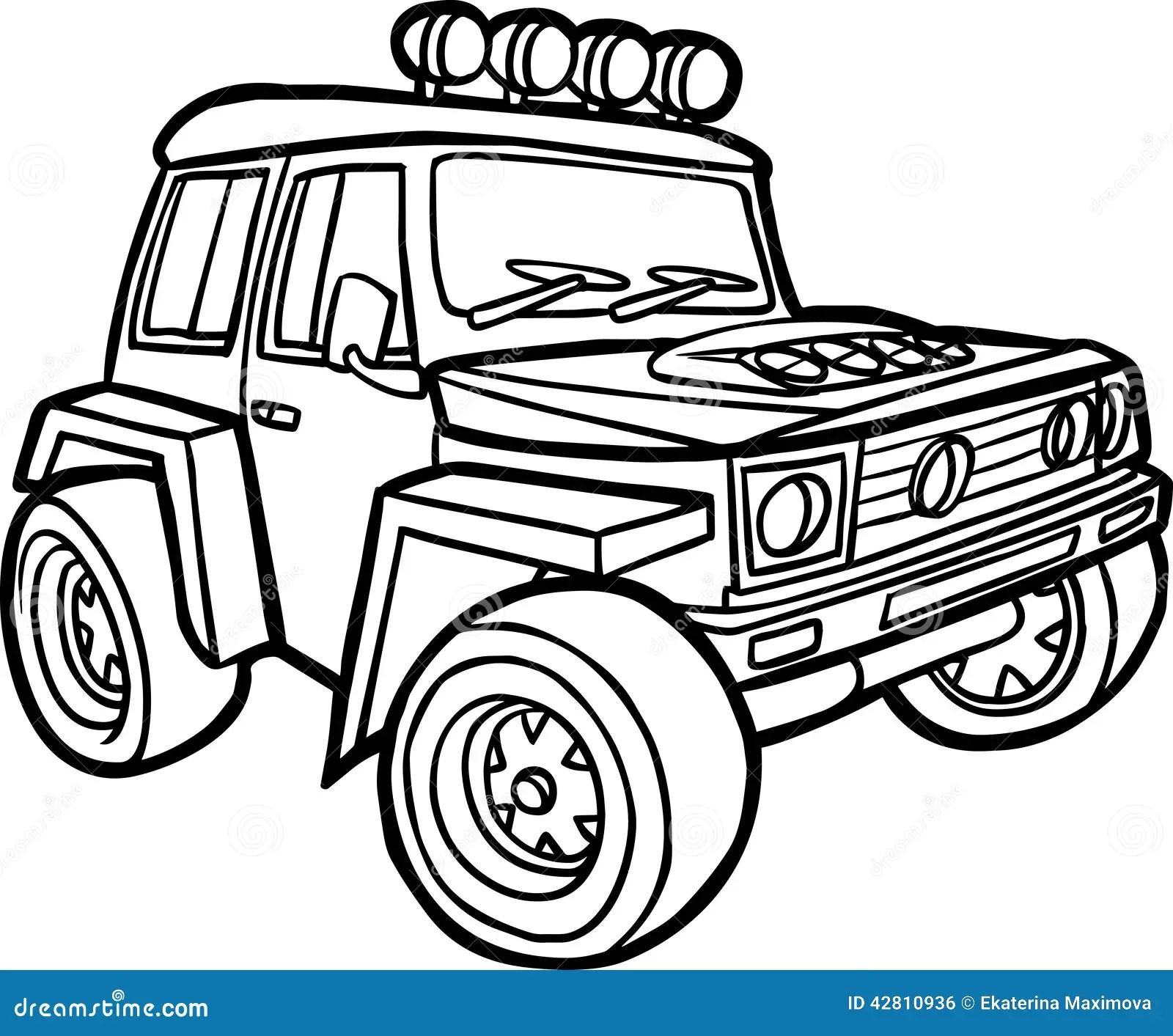 Cartoon Jeep Border Stock Illustration Illustration Of