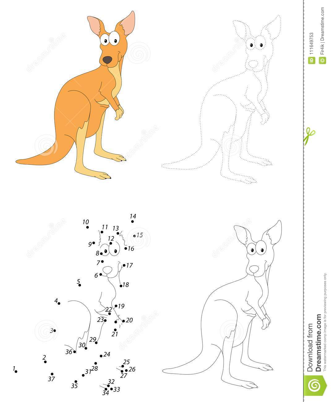 Cartoon Kangaroo Dot To Dot Game For Kids Stock Vector