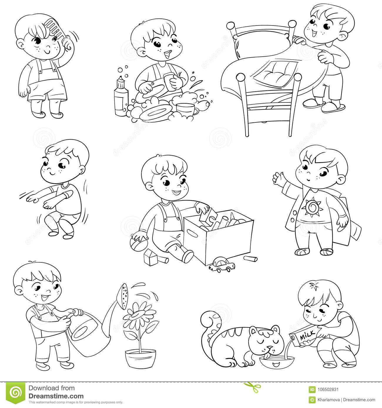Cartoon Kid Daily Routine Activities Set Stock Vector