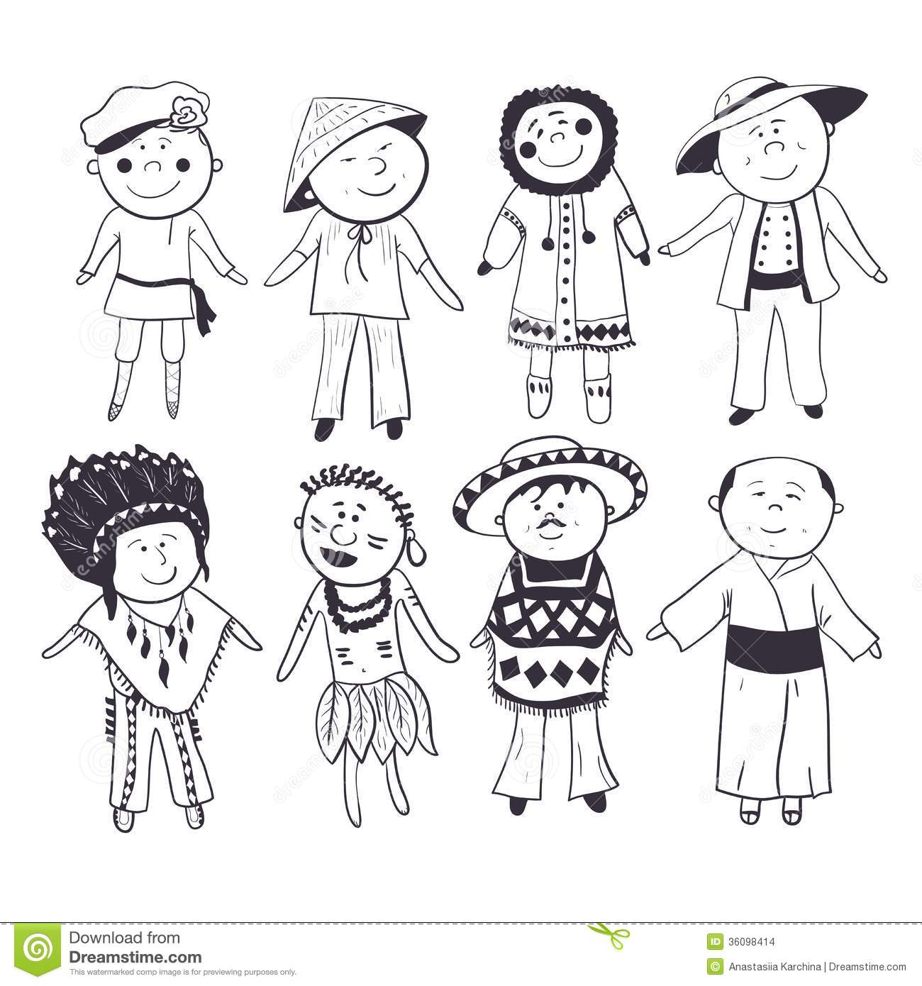 Cartoon Kids In Different Traditional Costumes Stock