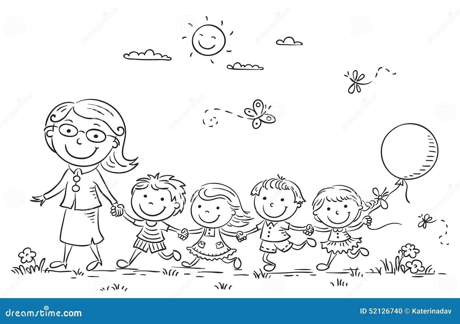 Cartoon Kids And Their Teacher Outdoors Outline Stock