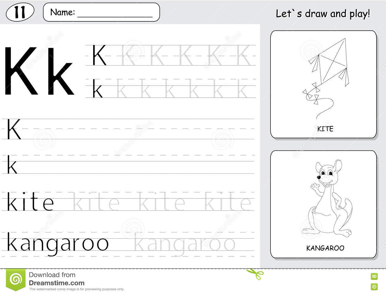Cartoon Kite And Kangaroo Alphabet Tracing Worksheet Writing A Stock Vector