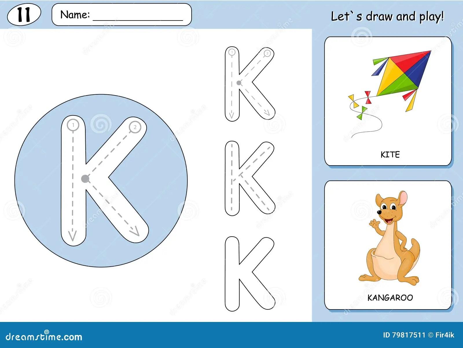 Cartoon Kite And Kangaroo Alphabet Tracing Worksheet