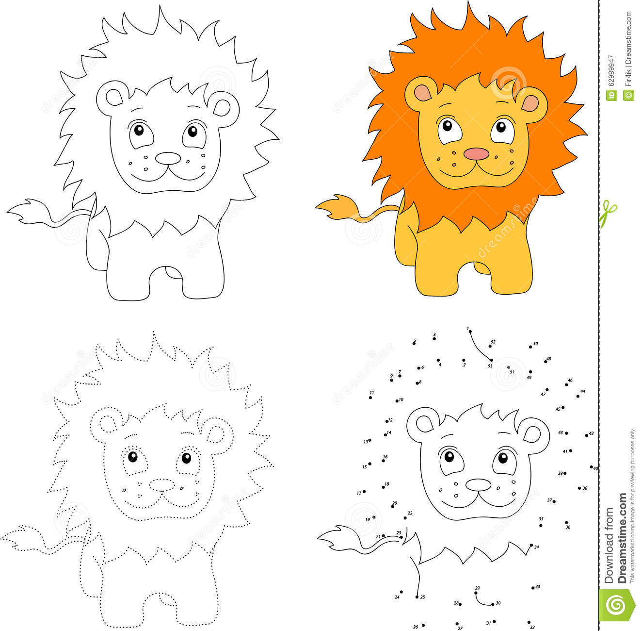 Cartoon Lion Vector Illustration Dot To Dot Game For