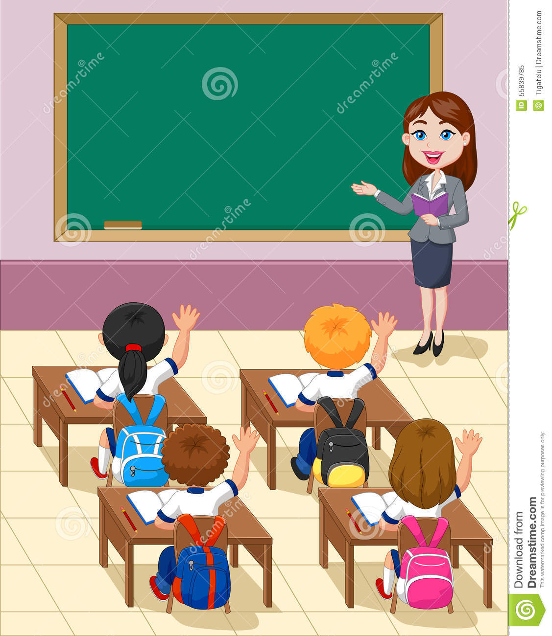 Cartoon Little Kids A Study In The Classroom Stock Vector