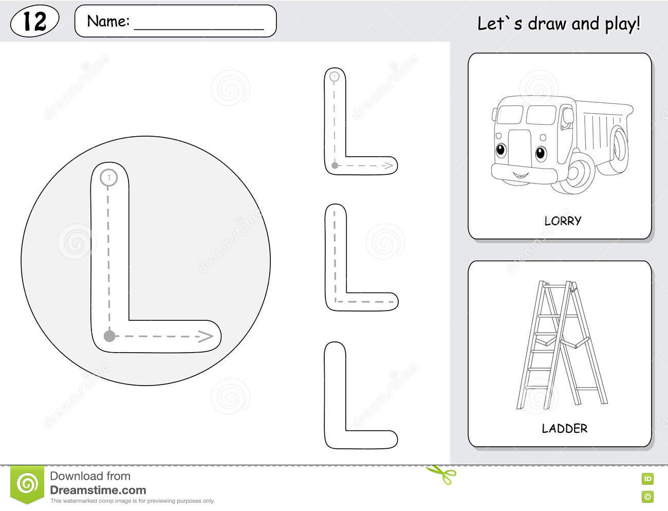 Cartoon Lorry And Ladder Alphabet Tracing Worksheet Writing A Stock Vector