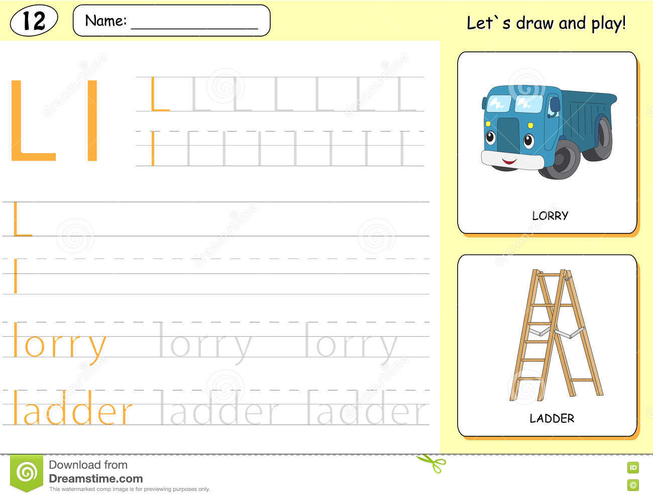 Cartoon Lorry And Ladder Alphabet Tracing Worksheet Stock
