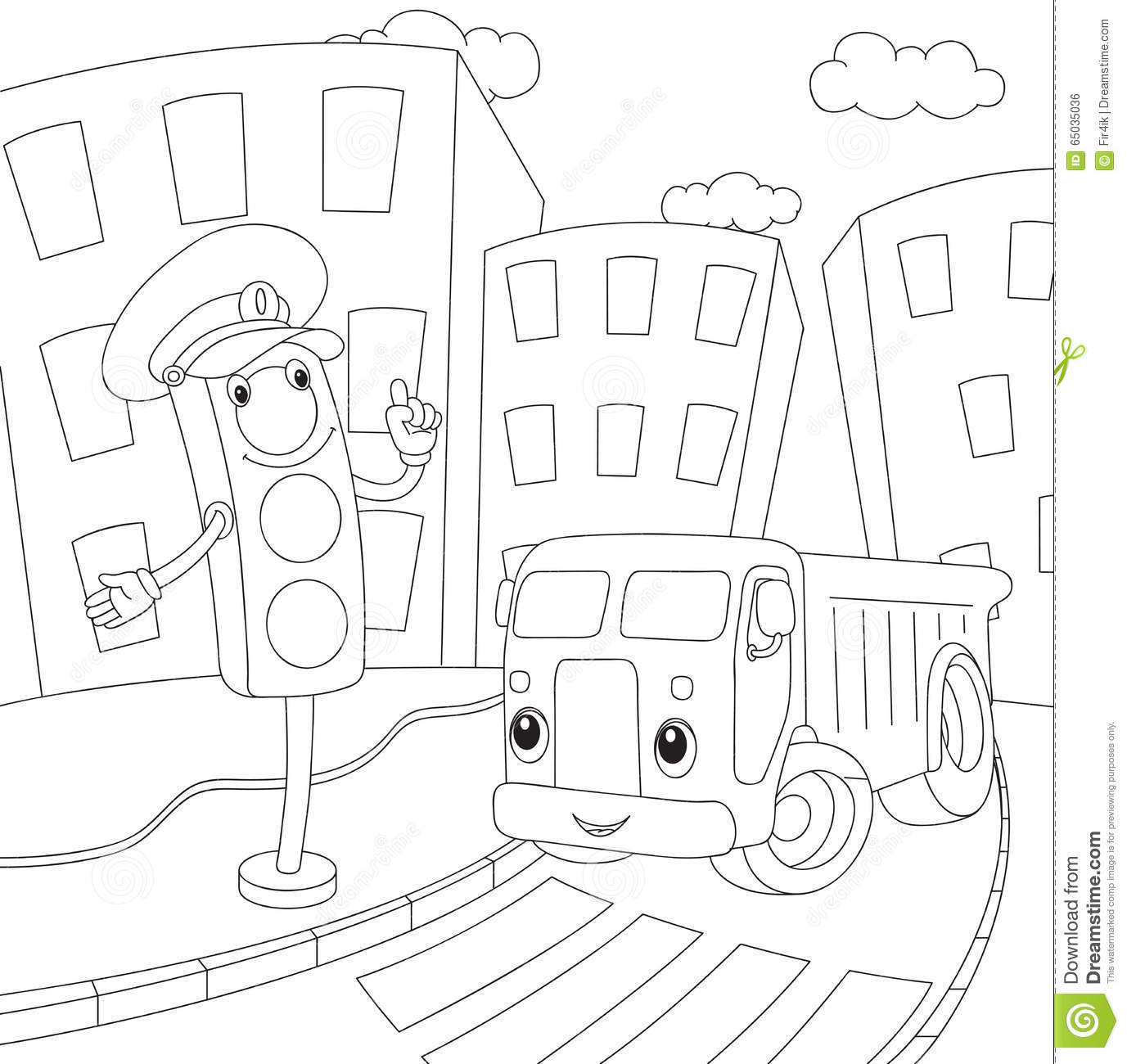 Cartoon Lorry And Traffic Lights Coloring Book For Kids