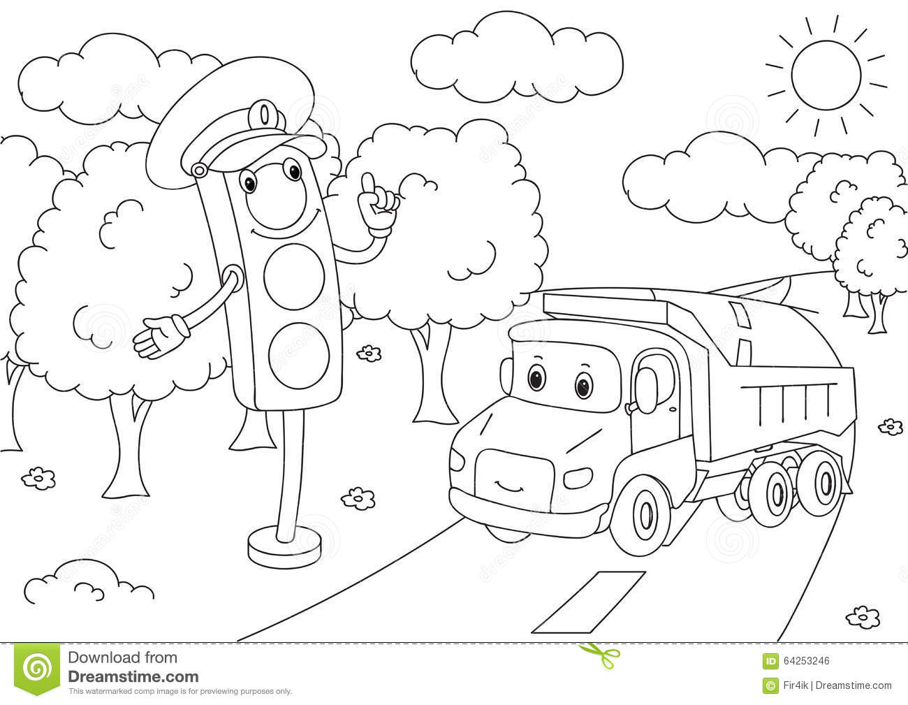Cartoon Lorry With Traffic Lights Vector Illustration