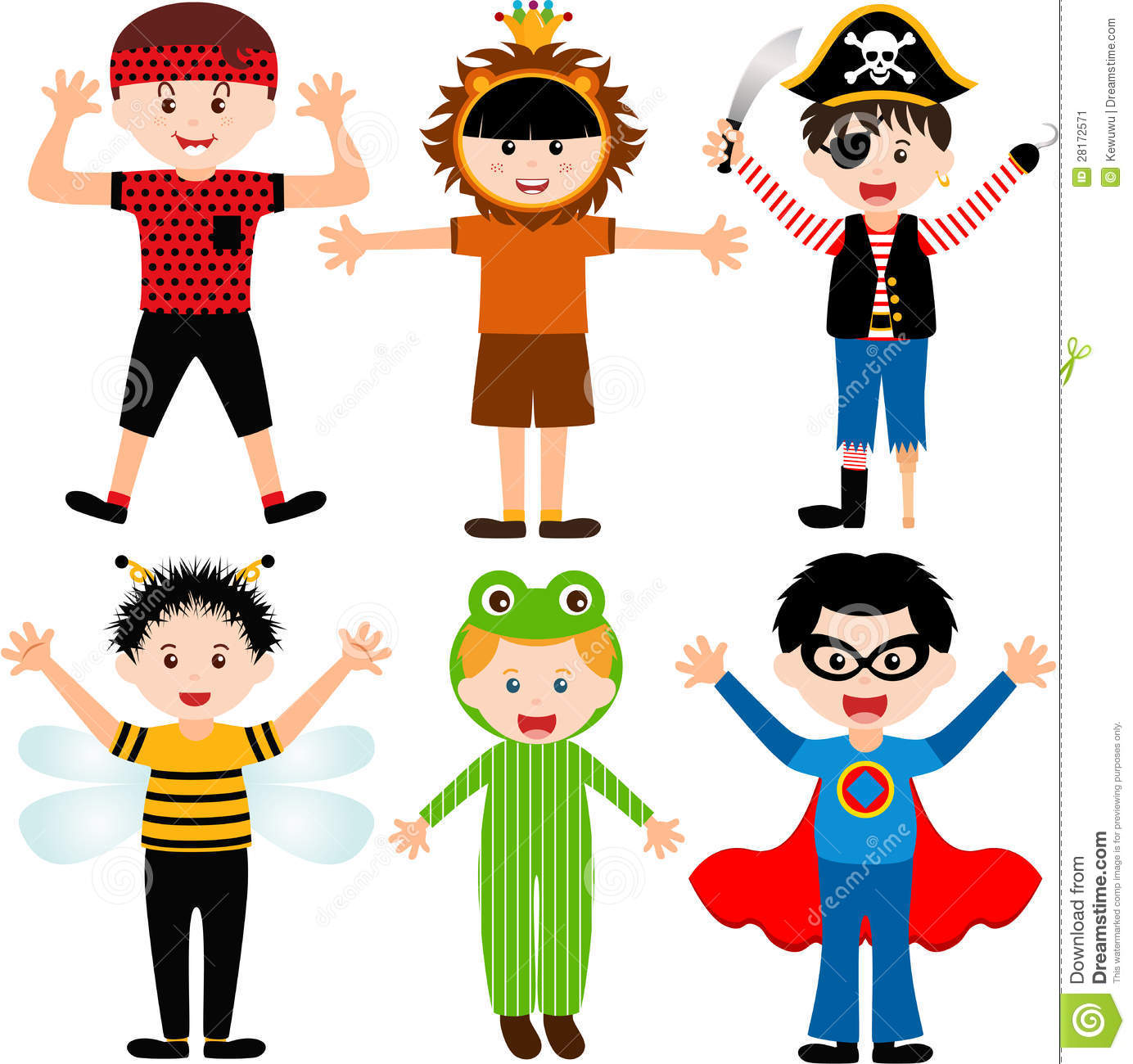Cartoon Male Kids In Costumes Stock Image