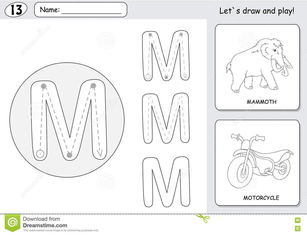 Cartoon Mammoth And Motorcycle Alphabet Tracing Worksheet