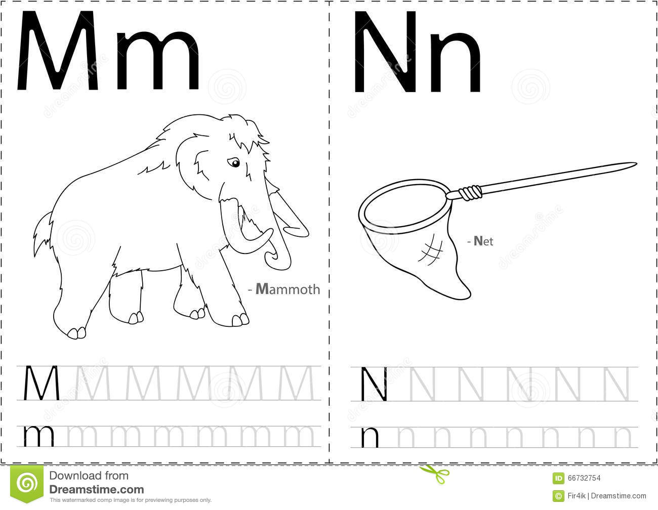 Cartoon Mammoth And Net Alphabet Tracing Worksheet Writing A Z Stock Vector