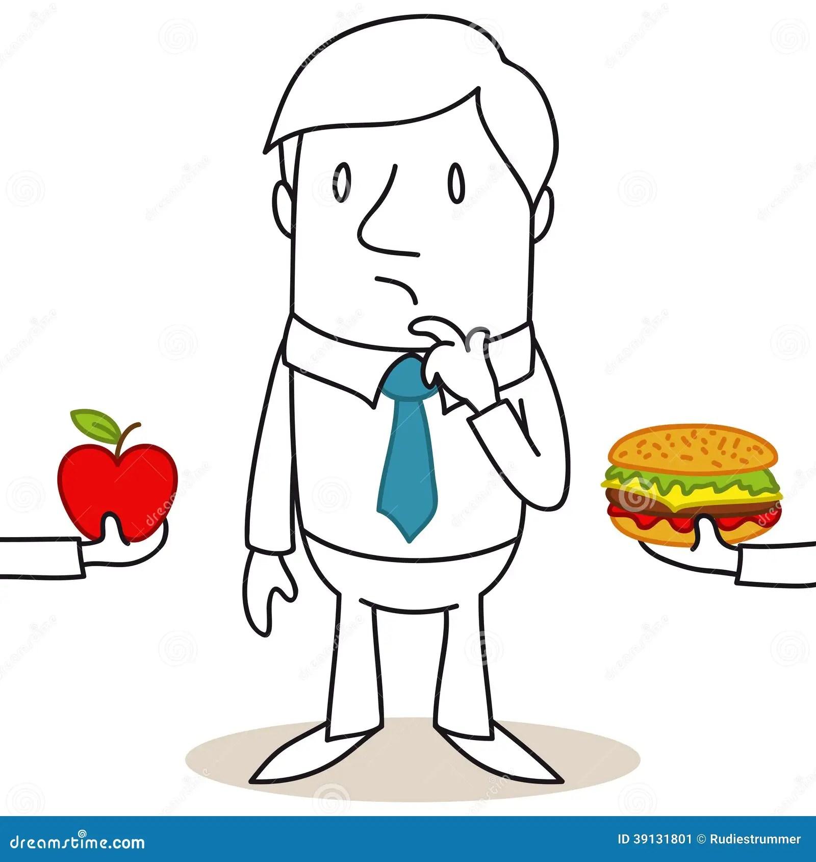 Cartoon Man Healthy Junk Food Decision Stock Vector