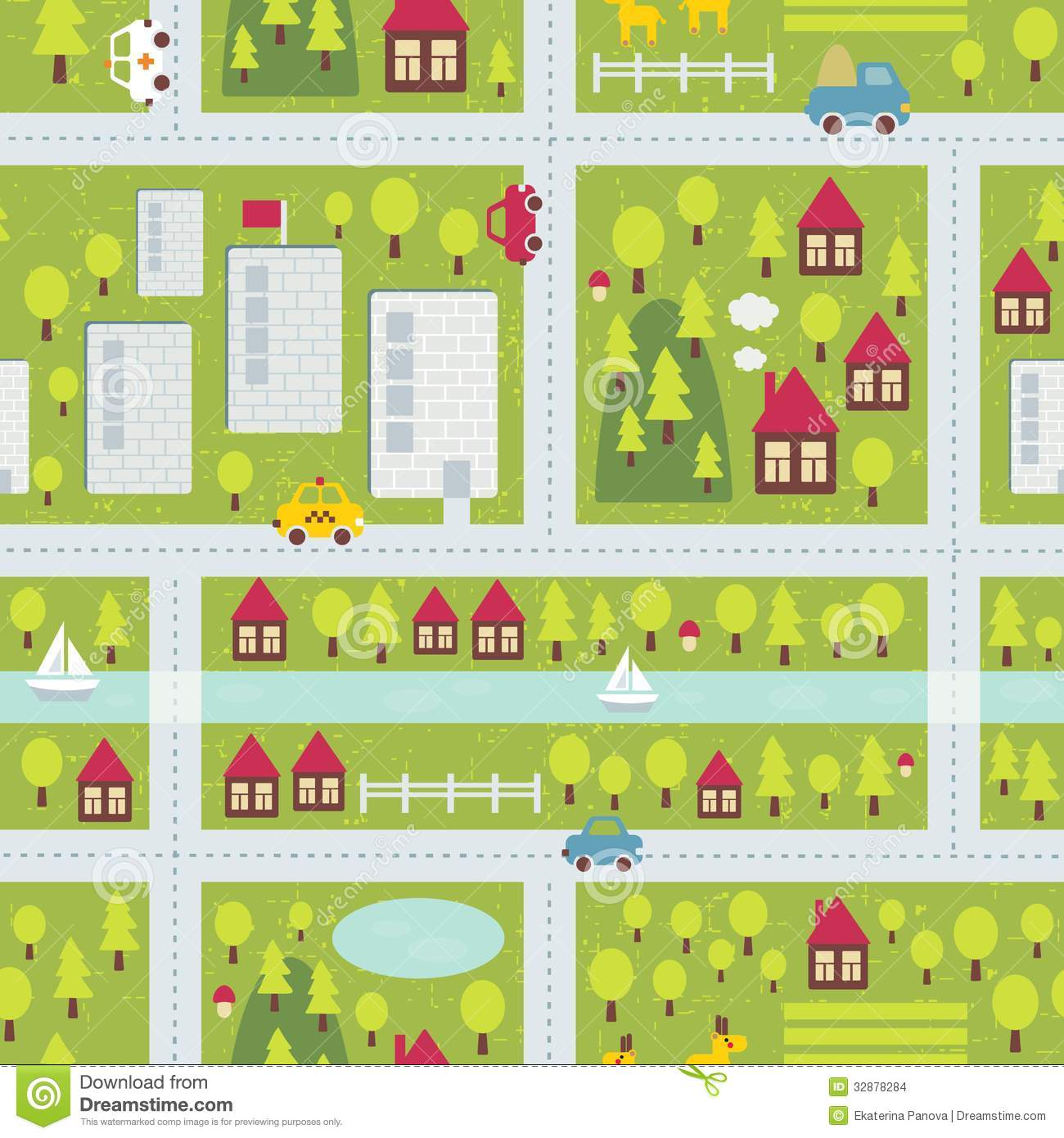 Cartoon Map Pattern Of Small Town Stock Vector