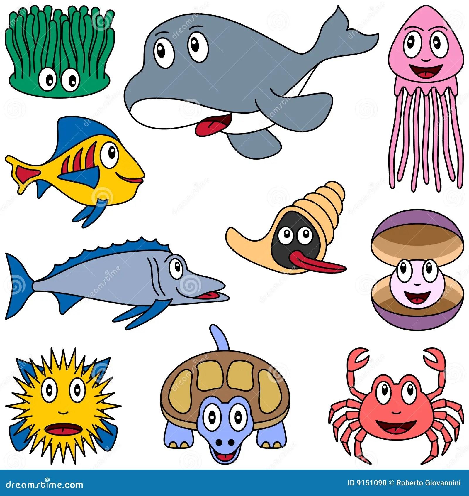 Cartoon Marine Animals Set 2 Stock Photo