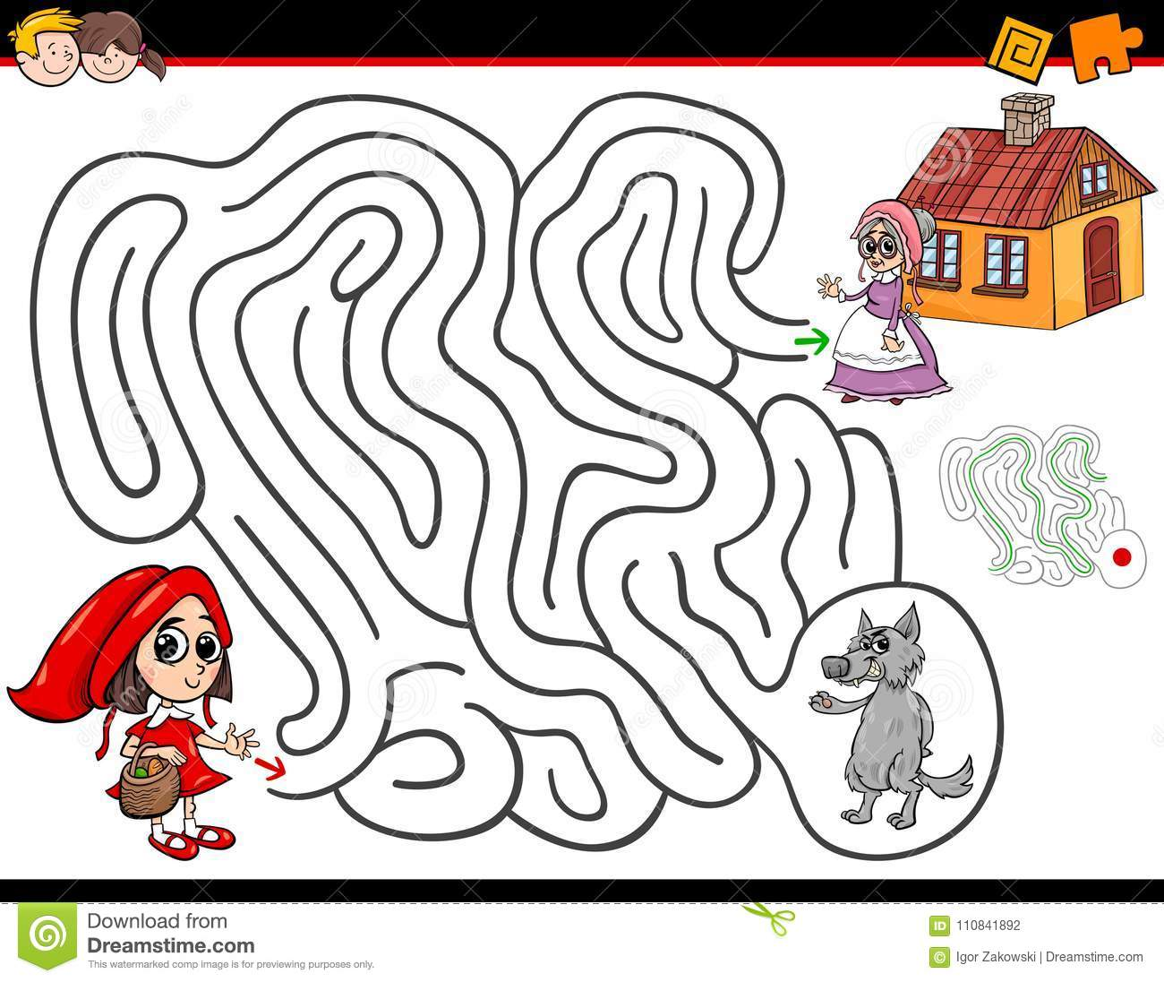 Cartoon Maze Activity With Little Red Riding Hood Stock