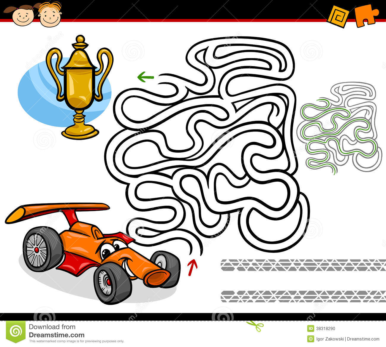 Cartoon Maze Or Labyrinth Game Stock Photo