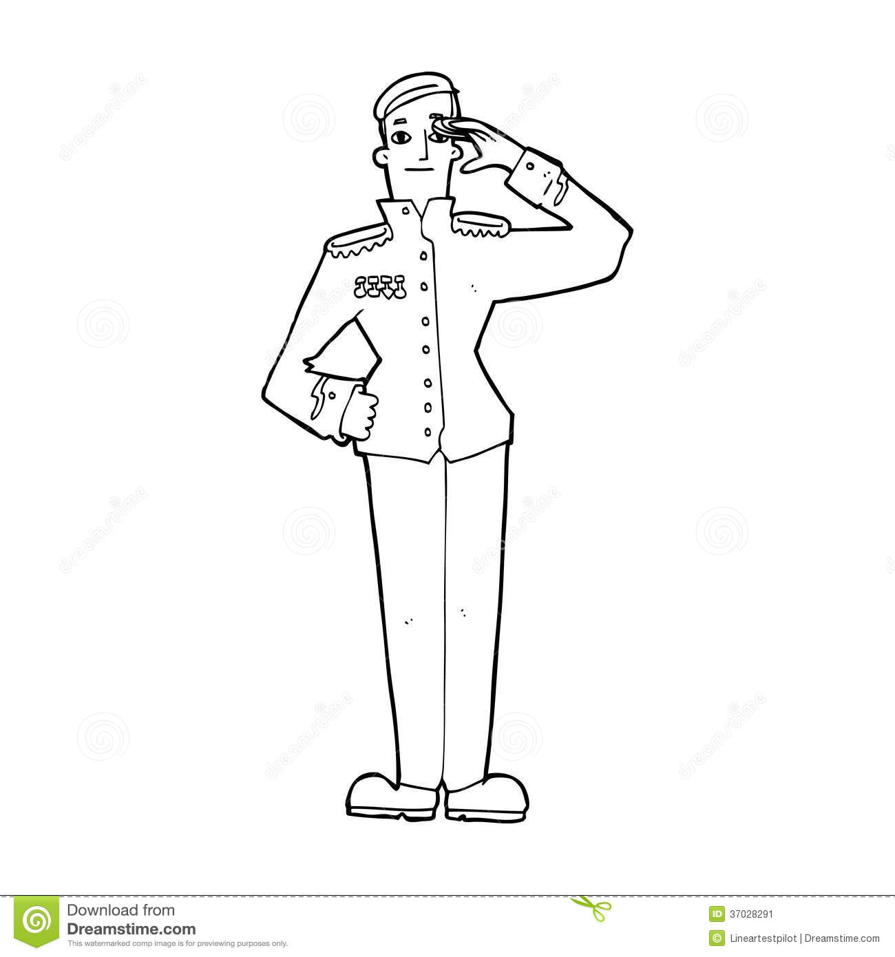 Cartoon Military Man In Dress Uniform Stock Illustration